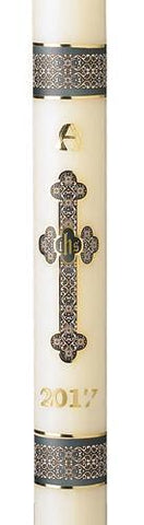 "2-1/2"" x 48"" Budded Cross Paschal Candle - Gerken's Religious Supplies"