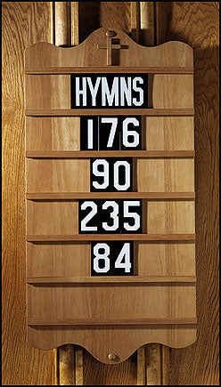 Wall Mount Hymn Board - Pecan