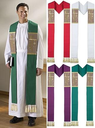 Alpha Omega Clergy Stole with Tassels - Gerken's Religious Supplies