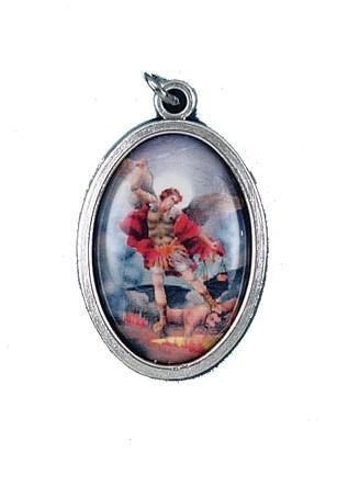 St. Michael Oxidized Picture Medal - Gerken's Religious Supplies