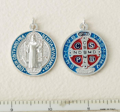 Silver, Blue and Red St. Benedict Medal - Medium - Gerken's Religious Supplies