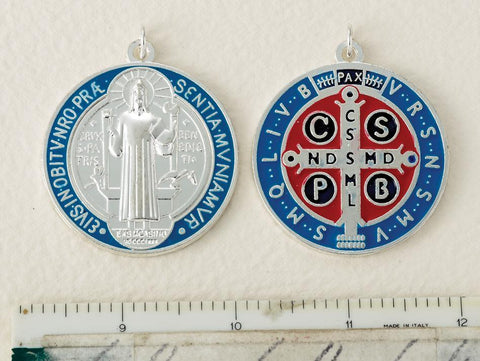 Silver, Blue and Red St. Benedict Medal - Large - Gerken's Religious Supplies