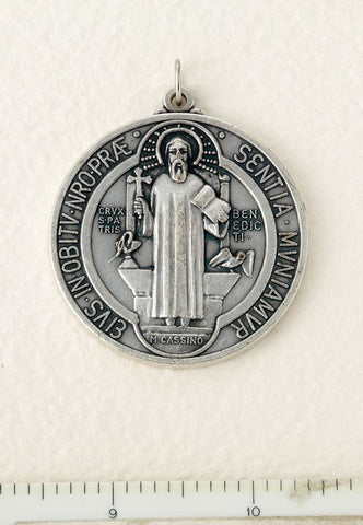 Silver Finished St. Benedict Medal - Large - Gerken's Religious Supplies