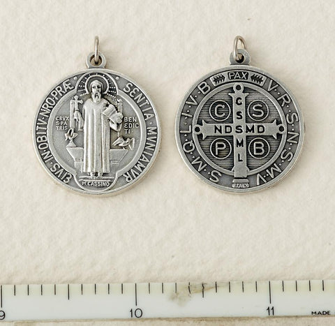 Silver Finished St. Benedict Medal - Small - Gerken's Religious Supplies