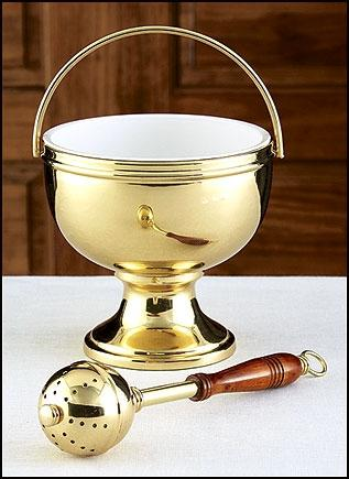 Gold Holy Water Pot & Sprinkler - Gerken's Religious Supplies