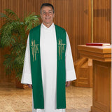 Embroidered Alpha Omega Clergy Overlay Stole