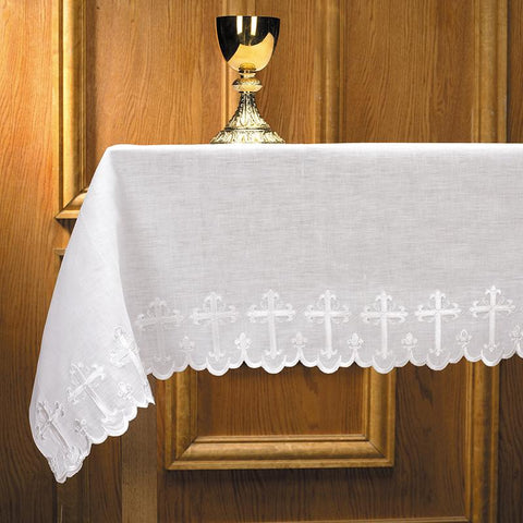 "Scalloped Edge with Cross Altar Frontal - Two Sided, 96"" - Gerken's Religious Supplies"