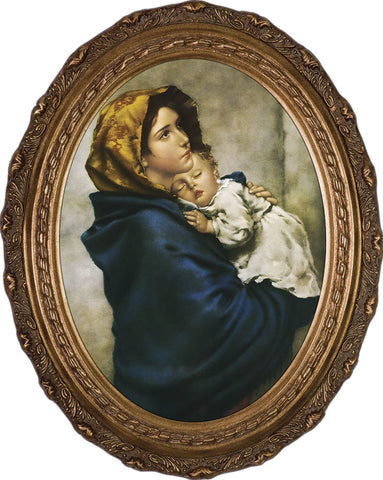 "Madonna of the Streets Canvas - Oval Framed Art - 12"" X 16"" - Gerken's Religious Supplies"