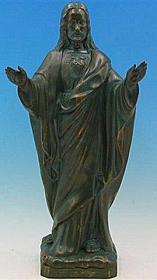 "Blessing Sacred Heart of Jesus Outdoor Statue with Bronze Finish, 24"" - Gerken's Religious Supplies"