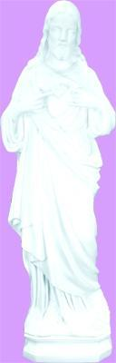 "Sacred Heart of Jesus Outdoor Statue with White Finish, 24"" - Gerken's Religious Supplies"