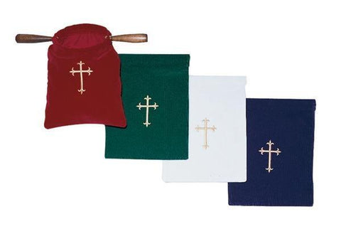 Offering Bag with Handles - Embroidered Cross - Gerken's Religious Supplies