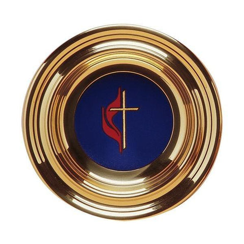 Brass Plated Offering Plate with Plain Maroon Pad - Gerken's Religious Supplies