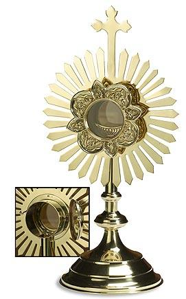 Monstrance with Removable Luna on Hinge - Gerken's Religious Supplies