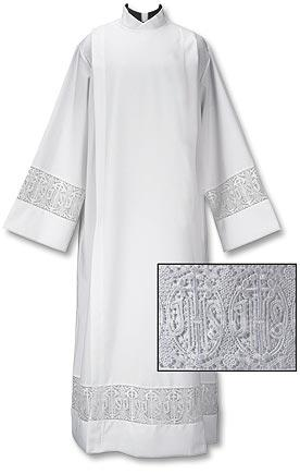 Front Wrap Alb with Latin Cross & IHS Lace Insert - Gerken's Religious Supplies