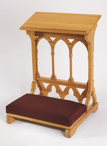 Gothic Padded Kneeler Oak Finish