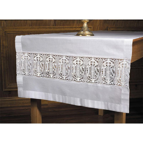 Latin Cross & IHS Lace Altar Runner - Gerken's Religious Supplies
