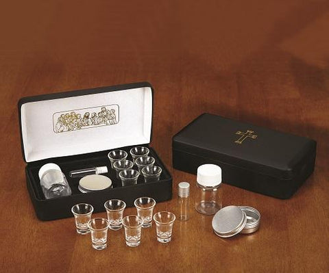 Last Supper Metal Hinged Portable Communion Set - Gerken's Religious Supplies