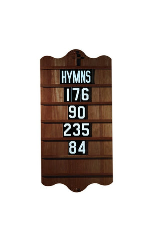 Wall Mounted Hymn Board - Walnut - Gerken's Religious Supplies