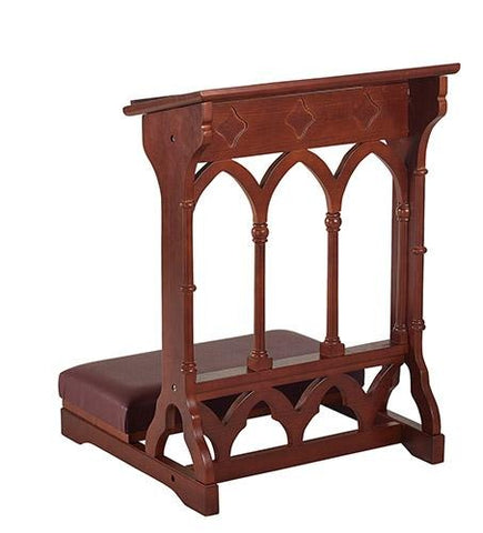 Gothic Padded Kneeler Walnut Finish - Gerken's Religious Supplies
