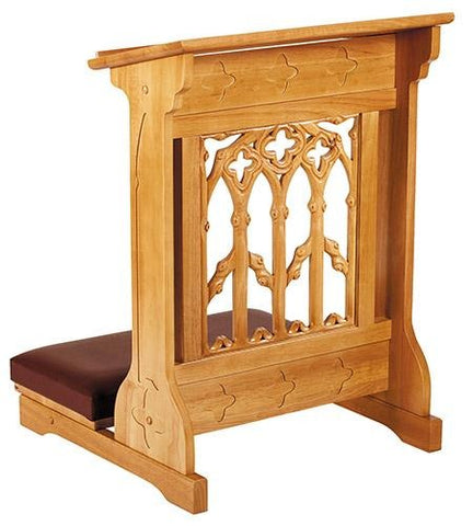 Canterbury Padded Kneeler Oak Finish - Gerken's Religious Supplies