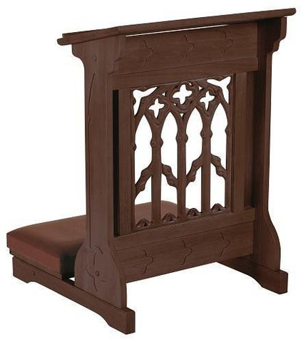 Canterbury Padded Kneeler Walnut Finish - Gerken's Religious Supplies