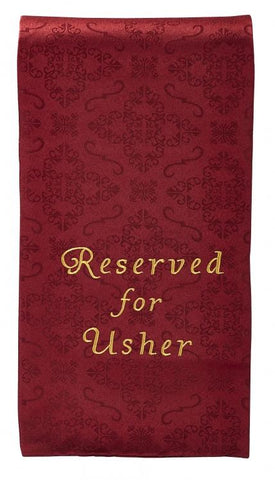 Reserved For Usher Pew Cloth - Gerken's Religious Supplies