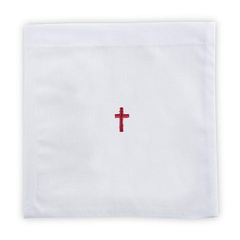 Red Cross Chalice Pall - 100% Linen - Gerken's Religious Supplies