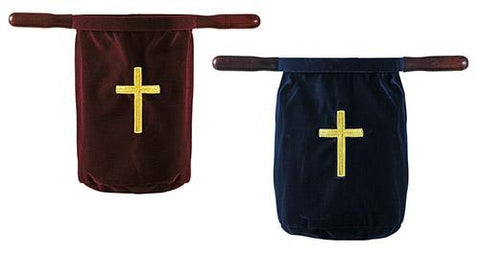 Velvet Offering Bag with Wood Handles & Cross Design