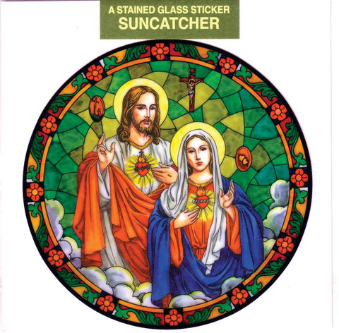 Immaculate Heart of Mary / Sacred Heart of Jesus Static Sticker - Gerken's Religious Supplies