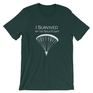 I Survived my 1st Solo Paramotor Flight (White Logo) - Short-Sleeve Unisex T-Shirt - T-Shirt -- ParAddix -- Canadian Online ParaStore for the Paramotor and Paraglider Addicts
