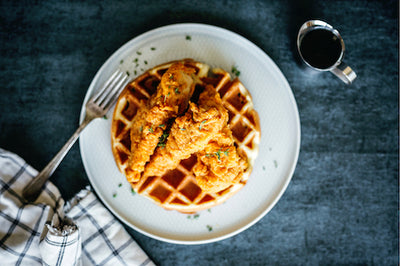 Southern Chicken, Waffles, Mashed Potatoes