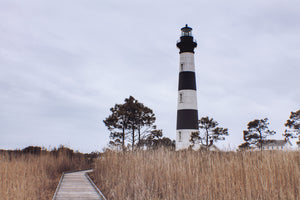 Bodie Island Lighthouse in Outer Banks seen from marsh boardwalk