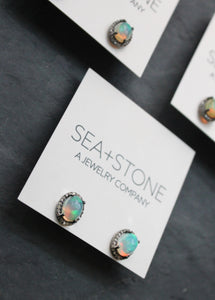 Sea and Stone jewelry opal and diamond stud earrings