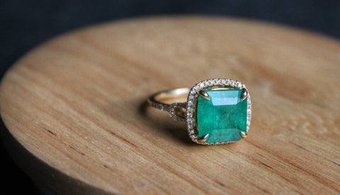 Front view of emerald and diamond ring by Sea and Stone Jewelry