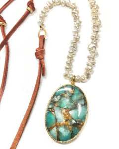Heshi Pearl, Suede, & Amazonite Necklace