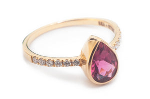 14k Gold, Gemstone, & Diamond Ring