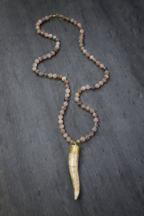 Long Whitetail Deer Antler & Moonstone Necklace