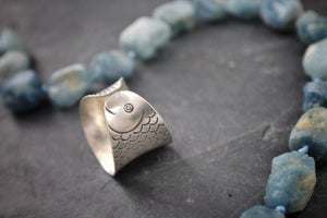 Sea and Stone Jewelry - Hill tribe silver adjustable ring, stamped with detailed fish design. head side shown.