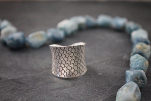 Sea and Stone Jewelry - Hill tribe silver adjustable ring, stamped with detailed fish design. Scale detail side shown.