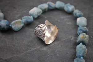 Sea and Stone Jewelry - Hill tribe silver adjustable ring, stamped with detailed fish design. tail side shown.