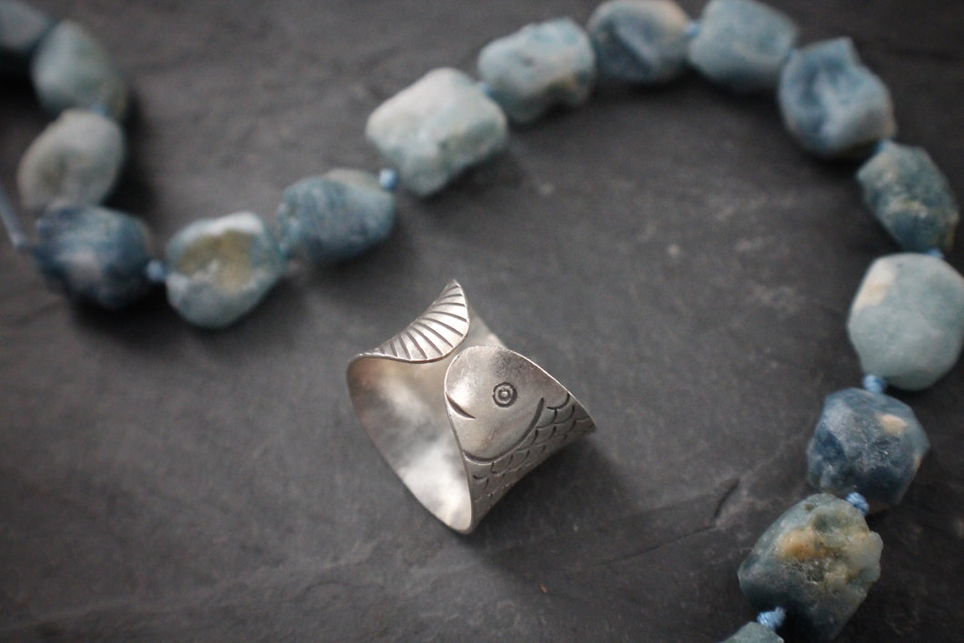 Sea and Stone Jewelry - Hill tribe silver adjustable ring, stamped with detailed fish design. adjustable tail and head side shown.