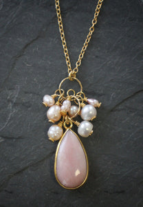 Sea and Stone Jewelry - A droplet shaped pink opal and pearl cluster pendant hangs from a gold vermeil cable chain.