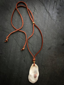 Sea and Stone Jewelry - Adjustable Oyster Necklace on Tobacco Brown Suede