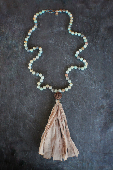 Sea+Stone Jewelry Beaded Amazonite Fabric Tassel Necklace