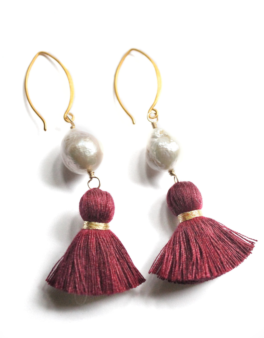 Baroque Pearl Ear Rings with Crimson Tassels on Vermeil Wire