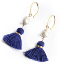 Baroque Pearl Ear Rings with Royal Blue Tassels on Vermeil Wire