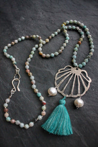 Sea and Stone Jewelry - Amazonite and Hand Cut Sterling Silver Shell Charm, with Pearls & Tassel Necklace