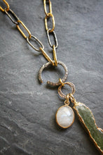 Sea and Stone Jewelry - Convertible Solid Sterling Silver Chain Plated in Gold and Blackened Metal, Accented with White Topaz Pave Clasp and Raw Green Kyanite and Faceted Moonstone pendants. Close up.