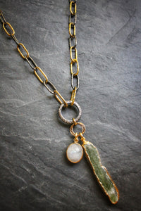 Convertible Two-Tone Chain Necklace with Kyanite & Moonstone