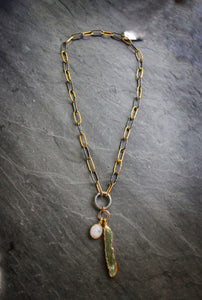 Sea and Stone Jewelry - Convertible Solid Sterling Silver Chain Plated in Gold and Blackened Metal, Accented with White Topaz Pave Clasp and Raw Green Kyanite and Faceted Moonstone pendants